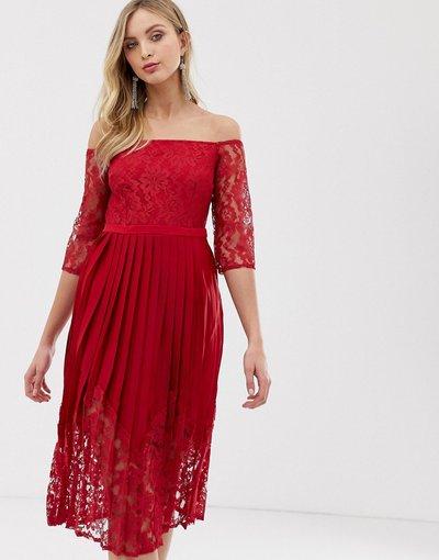 Rosso donna Vestito con spalle scoperte, corpetto aderente in pizzo e mezze maniche - Little Mistress - Rosso
