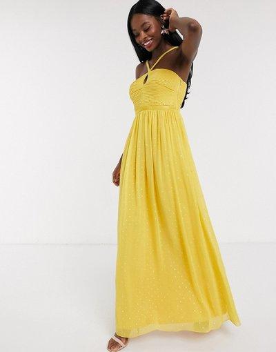 Giallo donna Vestito lungo a pieghe a pois oro - Little Mistress - Giallo