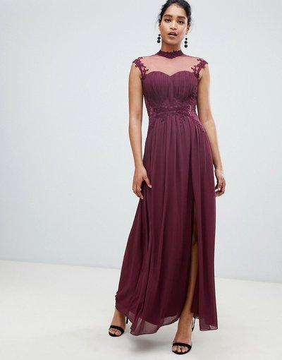 Viola donna Vestito lungo accollato in chiffon con retro in pizzo e delicate applicazioni a fiori - Little Mistress - Viola