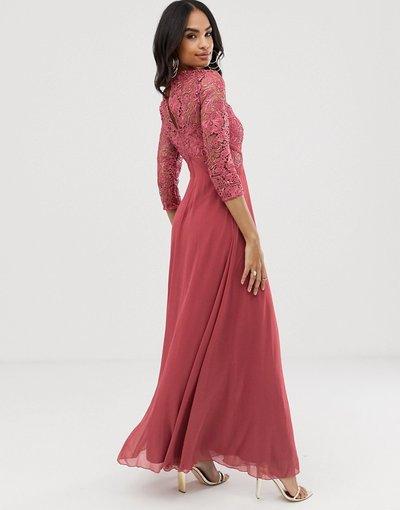 Rosa donna Vestito lungo all'uncinetto a maniche lunghe - Little Mistress - Rosa