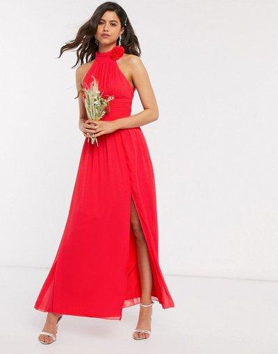 Rosso donna Vestito lungo con decoro a fiore rosso - Little Mistress