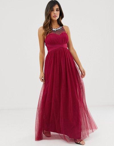 Rosso donna Vestito lungo con scollo a cuore e carré decorato - Little Mistress - Rosso