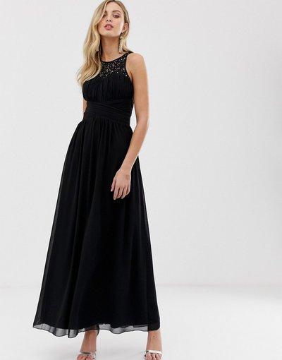 Nero donna Vestito lungo decorato con rivestimento in pizzo sul retro - Little Mistress - Nero