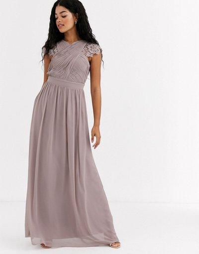 Marrone donna Vestito lungo drappeggiato con inserti in pizzo color ostrica - Little Mistress - Marrone