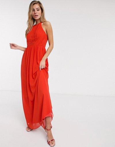 Arancione donna Vestito lungo in chiffon a pieghe color mandarino - Little Mistress - Arancione