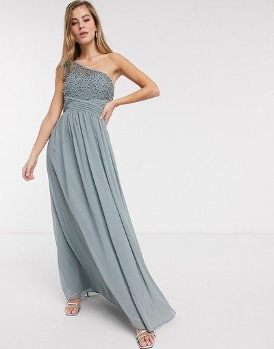 Grigio donna Vestito lungo monospalla decorato grigio - Little Mistress