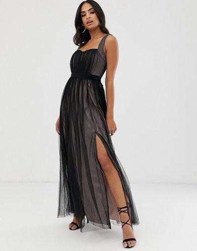 Nero donna Vestito lungo senza maniche con scollo a cuore e perline - Little Mistress - Nero