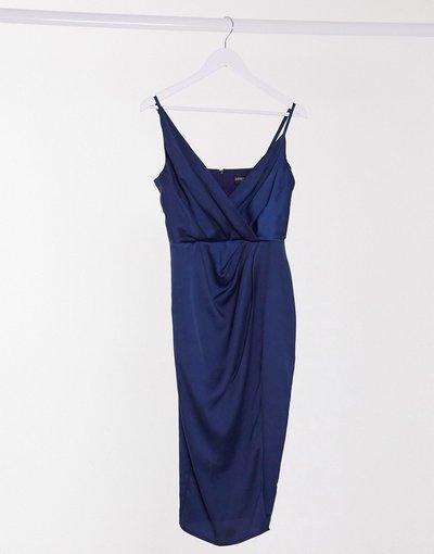 Navy donna Vestito midi a portafoglio in raso blu navy - Little Mistress