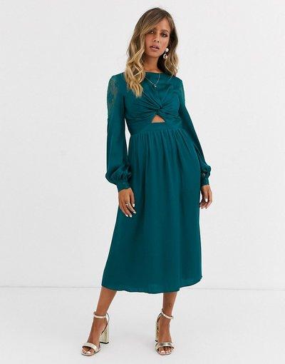 Blu donna Vestito midi in raso con cut - out in vita verde - Little Mistress - azzurro - Blu