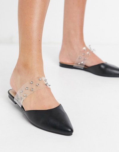 Scarpa bassa Nero donna Sabot bassi a punta neri con borchie - London Rebel - Nero