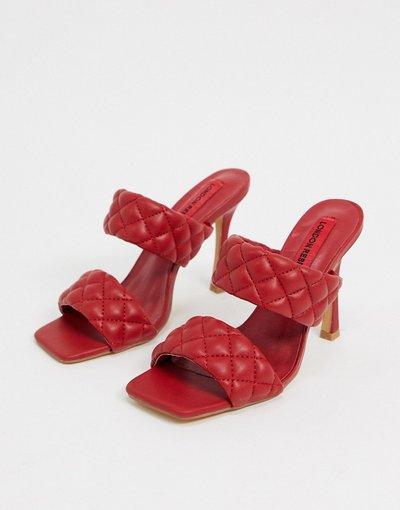 Sandali Rosso donna Sabot trapuntati rosso scuro - London Rebel