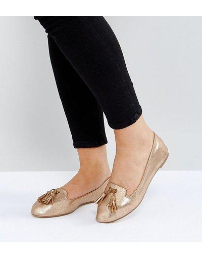 Ballerine Rame donna Scarpe a pantofola piatte a pianta larga con nappe - London Rebel - Rame
