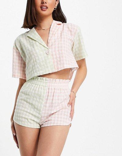 Pigiami Multicolore donna Completo con camicia corta e pantaloncini a quadretti misti rosa e verdi - Multicolore - Lost Ink