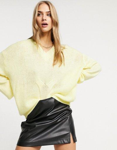 Giallo donna Maglione comodo extra largo con scollo a V, color limone - Lost Ink - Giallo