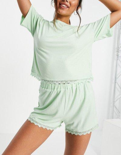 Pigiami Blu donna Pigiama con top e pantaloncini in jersey con bordi in pizzo verde menta - Lost Ink - Blu