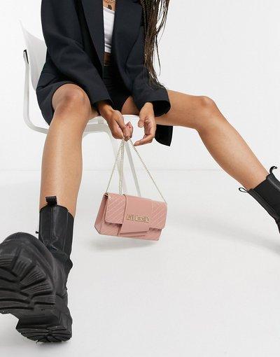 Borsa Rosa donna Borsa a tracolla trapuntata rosa chiaro con catena - Love Moschino