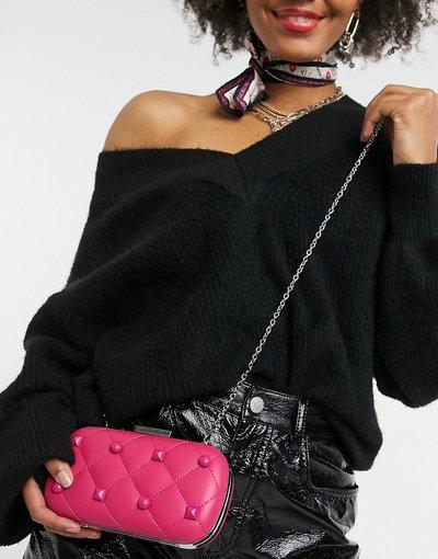 Portafoglio Rosa donna Borsa pochette trapuntata rosa con catena e borchie - Love Moschino