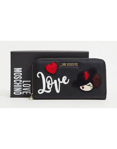 Borsa Nero donna Borsellino nero con dettagli ricamati ed applicati - Love Moschino