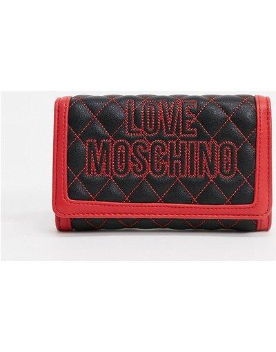 Borsa Nero donna Borsetta trapuntata con cuciture a contrasto e tracolla a catena nera e rossa - Love Moschino - Nero