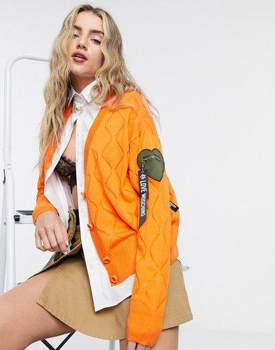 Arancione donna Cardigan in maglia a rombi arancione con logo - Love Moschino