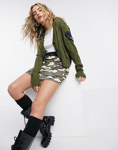 Verde donna Cardigan in maglia a rombi kaki con logo - Love Moschino - Verde