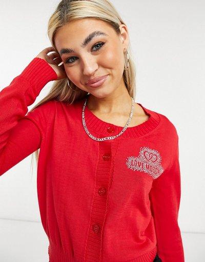 Rosso donna Cardigan rosso con scritta - Love Moschino