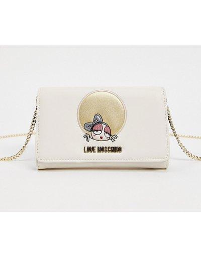 Portafoglio Crema donna Borsetta avorio con tracolla a catena - Love Moschino - Look At Me - Crema