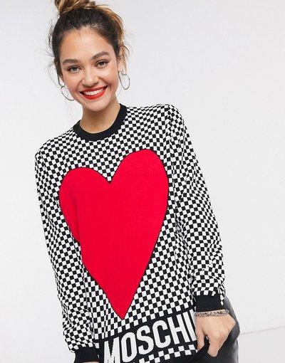 Rosso donna Maglione a scacchi con cuore in rosso multi - Love Moschino