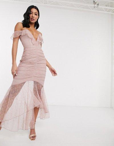 Eleganti lunghi Rosa donna Vestito lungo a sirena in pizzo con ruches - Love Triangle - Rosa