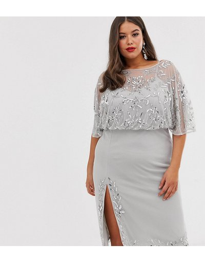 Argento donna Vestito midi decorato con spacco - Lovedrobe Luxe - Argento