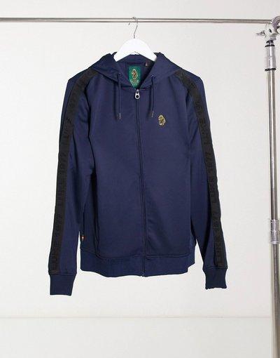 Felpa Navy uomo Felpa tricot con cappuccio e logo oro - Luke - Navy
