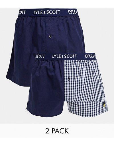 Intimo Blu navy uomo Confezione da 2 paia di boxer blu navy e a quadretti cut and sew - Lyle&Scott - Bodywear