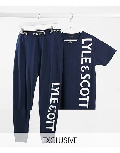 Pigiami Blu navy uomo Completo da casa con top e pantaloni blu navy con logo - Lyle&Scott