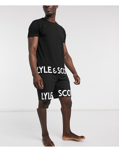 Pigiami Nero uomo shirt e pantaloncini con logo - Lyle&Scott - Set con T - Nero
