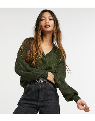 Verde donna Maglione comodo in maglia a coste con colletto - M Lounge - Verde
