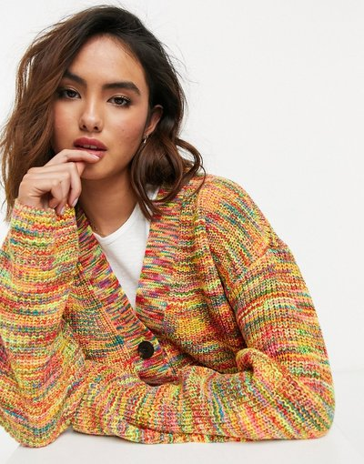 Multicolore donna Cardigan con scollo a V in filato mélange - Maison Scotch - Multicolore