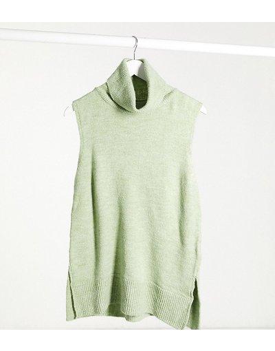 Verde donna Canotta premaman in maglia con collo alto verde - Mamalicious