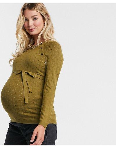 Arancione donna Maglione per allattamento con bottoni verde - Mamalicious - Arancione
