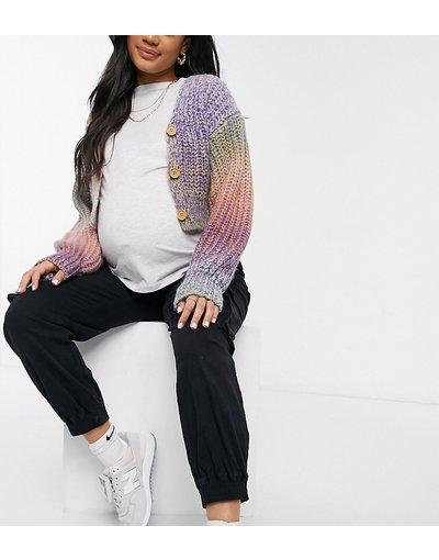 Multicolore donna Cardigan corto in maglia a coste arcobaleno pastello - Mamalicious Maternity - Multicolore