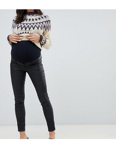 Maternita Nero donna Jeans skinny spalmati neri con fascia per il pancione - Mamalicious Maternity - Nero