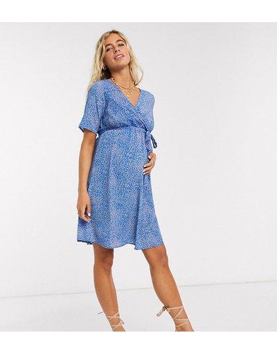 Maternita Blu donna Vestito corto a portafoglio premaman blu a fiori astratti - Mamalicious