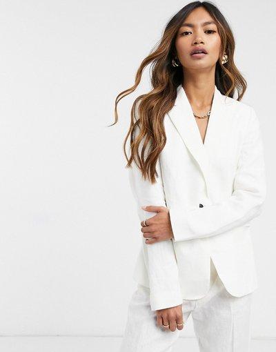 Bianco donna Blazer in lino bianco in coordinato - Mango