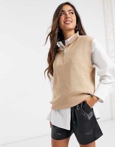 Marrone donna Canotta beige in maglia con zip sul davanti - Marrone - Mango