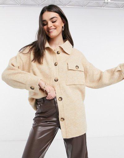 Beige donna Cardigan a camicia in maglia beige - Mango