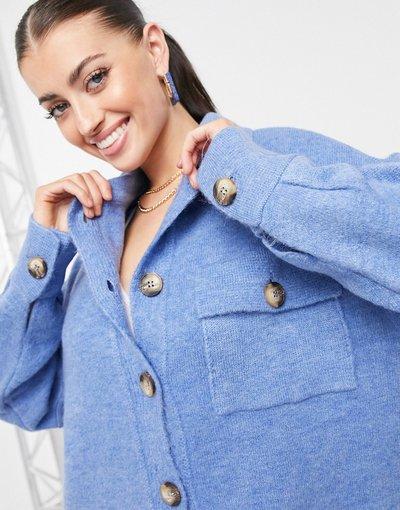 Blu donna Cardigan a camicia in maglia blu - Mango