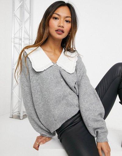 Maglione cardigan Grigio donna Cardigan grigio con colletto - Mango