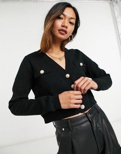 Nero donna Cardigan nero con bottoni in perle sintetiche - Mango