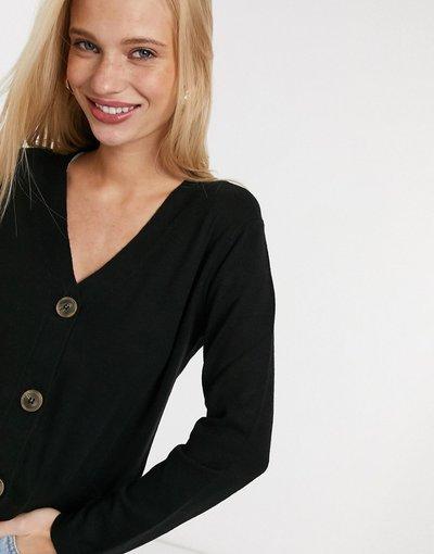 Nero donna Cardigan nero con bottoni sul davanti - Mango