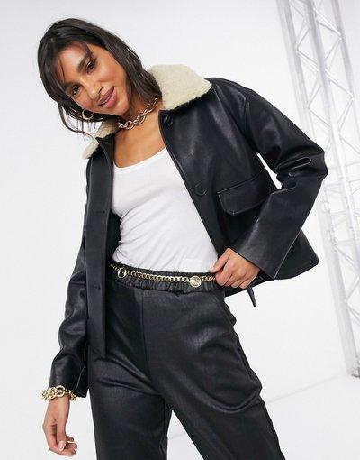 Nero donna Giacca modello aviatore in ecopelle con colletto in pile borg nera - Mango - Nero