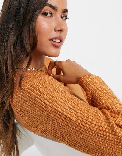 Arancione donna Maglione arancione accollato - Mango